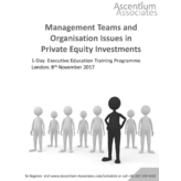 Management Teams & Organisation Issues in Private Equity Investments - London - November 2017